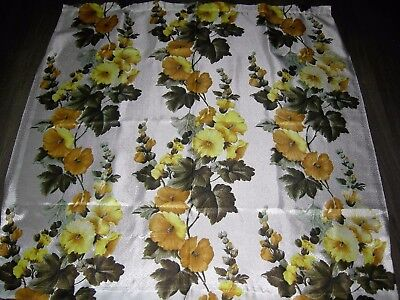 Vintage 60s 70s yellow floral fiberglass  textured fabric length 48