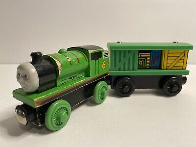 Thomas the Train PERCY w/ Box Car Wooden Railway Toy Learning Curve