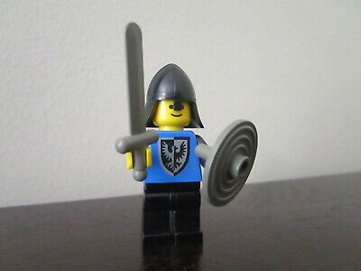 Vintage (1980s) LEGO Castle Black Falcon Knight Minifigure w/ Sword and Shield