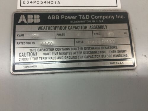 NEW NO BOX ABB 25 KVAR 4160 VAC 3 PH CAPACITOR 6002C14A27