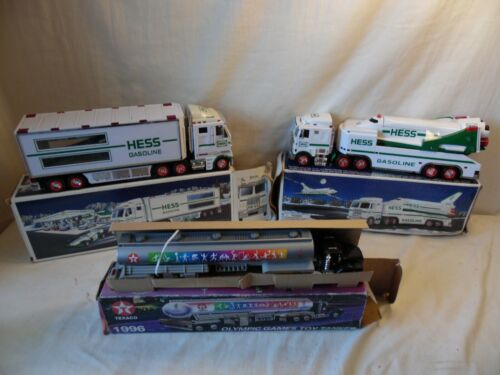 3 Pc Hess Gasoline Toy Truck Hauler & Space Shuttle & Texaco Olympic Toy Tanker