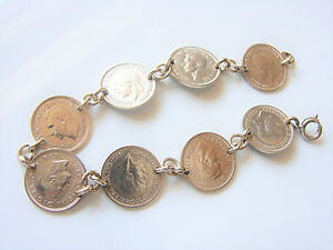 Sterling Silver Three Pence Coins Link Bracelet