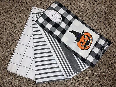 Halloween Pumpkin Jack O lantern Dish Kitchen Towels Set Of 4 New With Tags