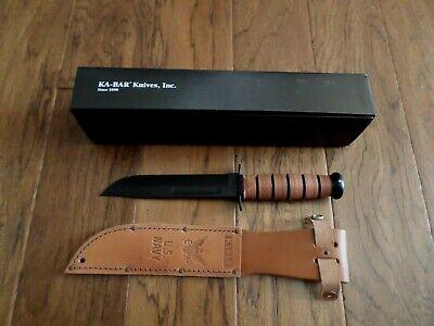 U.S MILITARY NAVY KA-BAR KNIFE & LEATHER SHEATH KABAR FULL SIZE COMBAT KNIFE