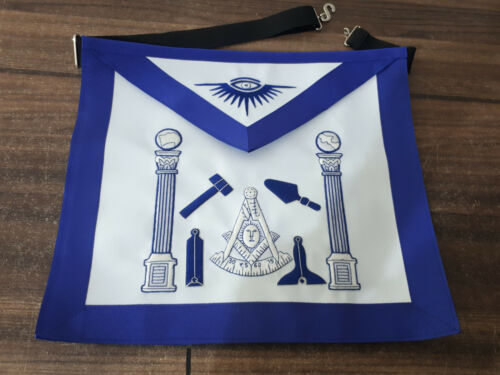 Blue Hand Bullion Past Master Embroidery Aprons With Tools, Past Master Aprons,
