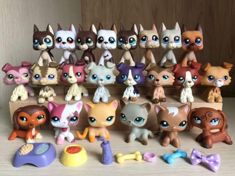 Littlest Pet Shop Lot Lps Toy 1 Cat 1 Collie 1 Spaniel 1 Dachshund 1 Great Dane