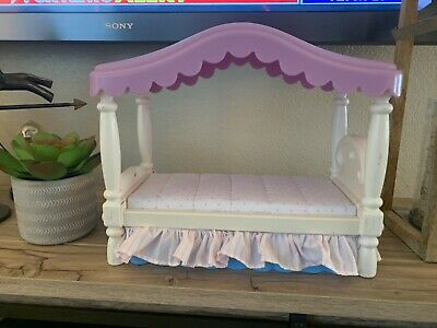 Little tikes Vintage My Size Barbie Dollhouse furniture purple canopy Doll Bed
