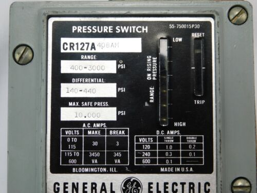 General Electric CR127A408AM CR127A Pressure Switch | 400 to 3000 PSI