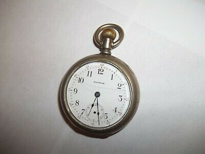 Antique American Waltham 18s Pocket Watch Keystone Silverode Case Engraved Ship