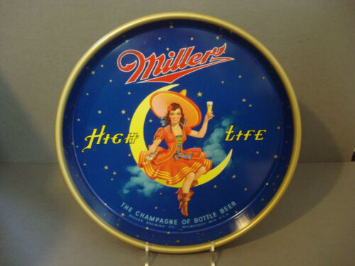 "Vintage ~ 13"" Miller High Life ~ Girl On Moon ~ Beer Drink Serving Tray ~ MINT !"