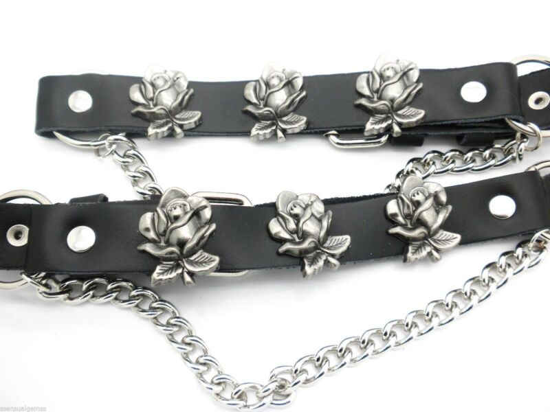 Boot Straps W Roses Black Leather Biker Western Chain Buckle Women