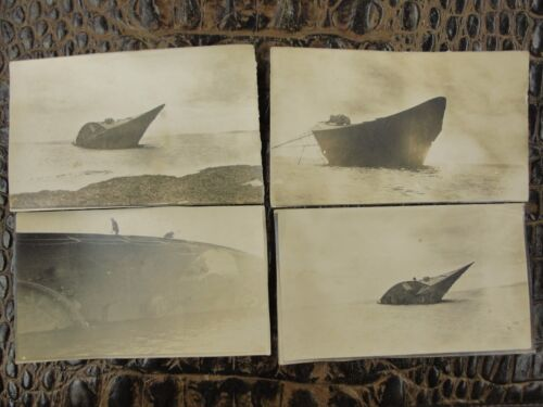 Original German WW1 Lot of 4 Photographs of Wrecked Ship or U-Boat OOAK