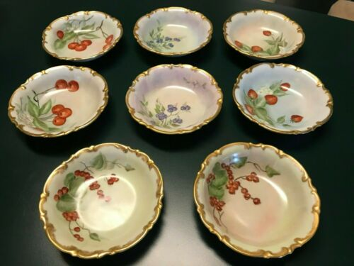 8 Hutschenreuther Selb Bavaria Sylvia Hand Painted Signed Berry Dessert Bowls