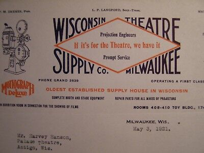 Movie Letterhead Wisconsin Theatre Supply 1921 Tip on New Prospect @ Three - Movie Theater Supplies