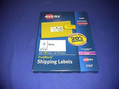 Avery 5163 2x 4 Trueblock White Shipping Labels 1200 Count - Brand New