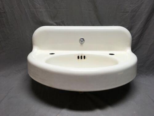 Antique Cast Iron White Porcelain Half Round Bath Wall Sink Vtg Standad 348-19E