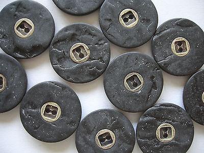 5 Knöpfe dklgrau Schieferoptik, altsilber Metalleinleger 22mm 2-Loch K107.6