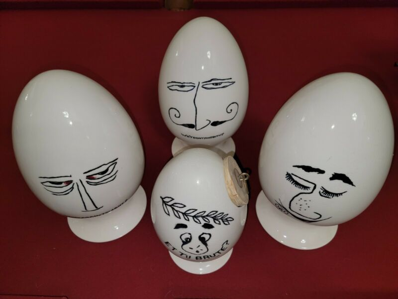 RARE VINTAGE 4 EGG COLLECTION BY: Lagardo Tackett Schmid Egg heads