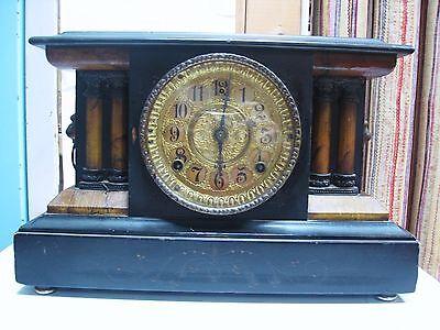 LQQK 1910 Antique WM L Gilbert Mantel Shelf Clock with Key Working Great Details