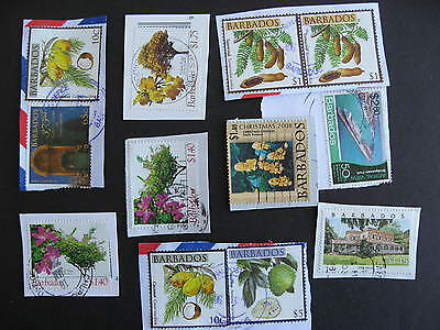 BARBADOS 12 modern stamps mixture (duplicates,mixed condition) used on piece