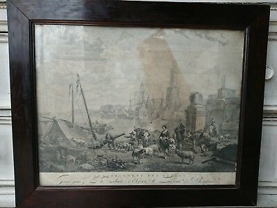 1771 Jacq-Phill le Bas Copperplate Embarquement de Vivres in Biedermeier Frame