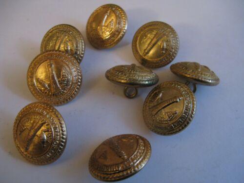 9 x Circa 1900 Northern Lighthouse Keepers Brass Uniform Service Buttons Gaunt