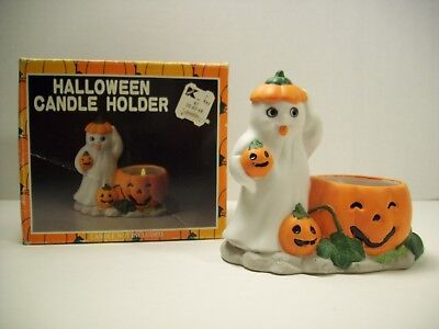 Vintage Ghost and Pumpkin Candle Holder Halloween Decoration Ceramic Kmart - Kmart Halloween Decorations