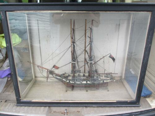 VINTAGE ANTIQUE OLD HAND MADE FOLK ART BRITISH NAVAL SAILING SHIP IN GLASS CASE