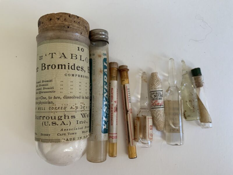 9 Rare Antique Apothecary Pharmacy Glass Bottles, Vials, Some Full Buy It Now