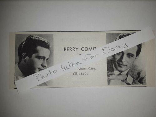 Perry Como Original 1940s actors casting ad