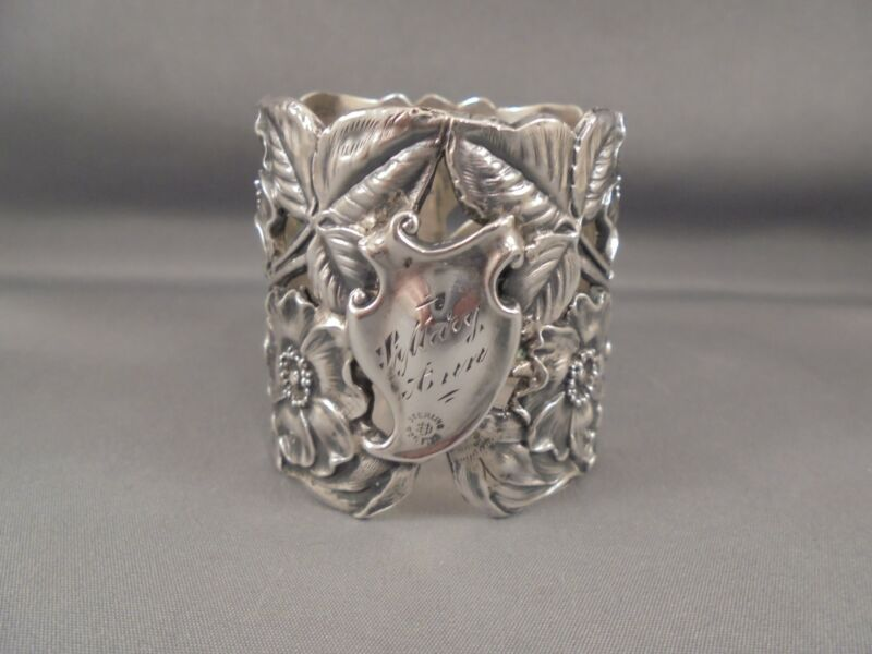 Antique Sterling Silver Unger Brothers Wild Rose Napkin Ring