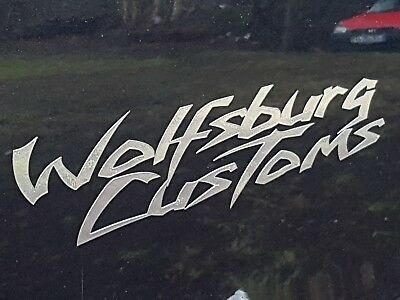 Chrom Aufkleber Wolfsburg Customs VW Auto CAR Style Sticker Tuning JDM Golf (Aufkleber Custom)