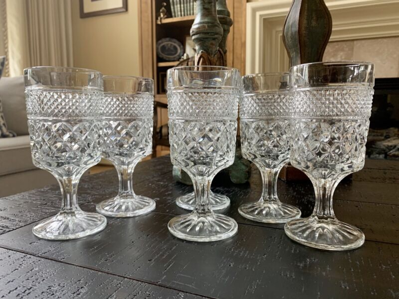 6 Pcs Vintage Anchor Hocking Wexford Clear Glass Stemmed Goblets