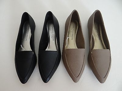 Christian Siriano For Payless Womens Pointy Toe Slip On Flats Shoes Black Taupe
