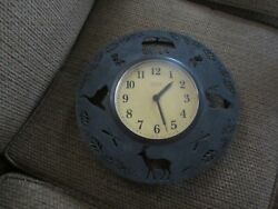 Northern Retreat Metal Round Wall Clock Lodge Cabin Hunting Bear Deer Fish