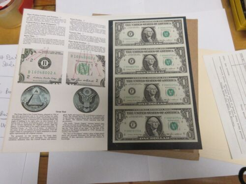 Uncut Uncirculated Sheet of 4 Series 1985 $1 One Dollar Bills US Currency Notes