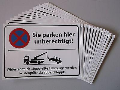 100x Parkverbot-Aufkleber statt Schild - Postkartenformat - UV-echt & wasserfest