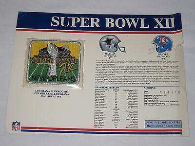 Super Bowl Xii 1978 Super Bowl Patch Dallas Cowboys Vs Denver Broncos With Stats