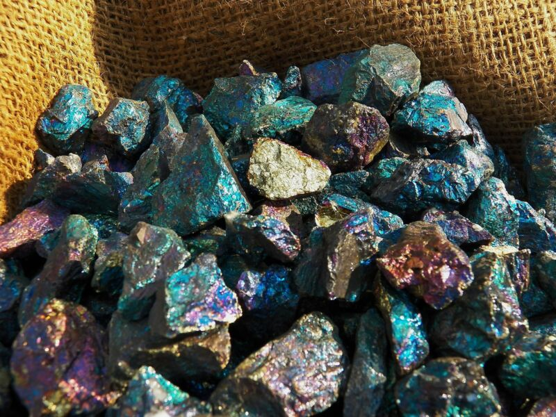 2000 Carat Lots of Unsearched Peacock Ore Rough - Plus a FREE Faceted Gemstone