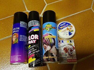 Tolles Schminkset Halloween-Karneval usw.- farbiges Haarspray Set  Z1