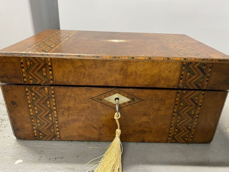 Antique Wood Writing Sloping Lap Desk Document Box Case