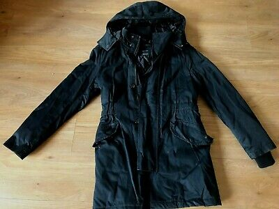 ZARA MAN BLACK PADDED HOODED ZIP FRONT COAT SIZE S for sale  Shipping to Nigeria