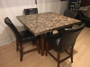 Ashley Furniture marble top dining room table & 4 leather chairs