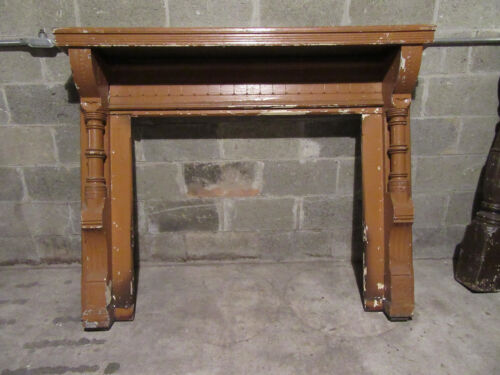 ~  ANTIQUE CARVED WALNUT FIREPLACE MANTEL ~ 60 x 48 ~ ARCHITECTURAL SALVAGE