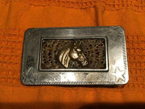 Horse Head Filigree Cowboy Cowgirl Western Vintage Belt Buckle Nickel Silver