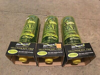 Lot of 3 Sterling RESCUE Yellow Jacket Trap Reusable Made in USA ()