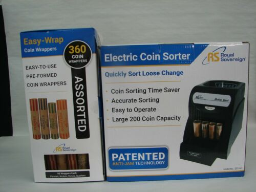 ROYAL SOVEREIGN ELECTRIC COIN SORTER + 1 BOX ASSORTED COIN WRAPPERS 360