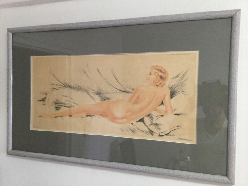 Antique Rare Suzanne Meunier 1888-1979 Signed Etching Nude Pose Woman Framed.
