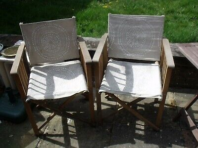 2 wooden and canvass foldable vintage garden chairs in used condition