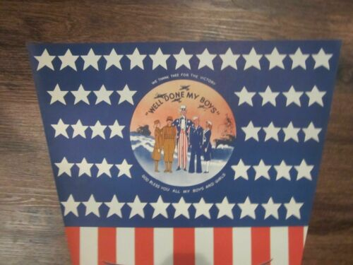 PATRIOTIC WWII WELCOME HOME AMERICAN FLAG BANNER UNCLE SAM & MILITARY Free Ship